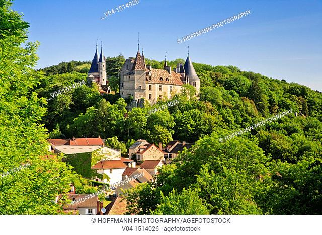 Castle and town in La Rochepot, Burgundy, France, Europe