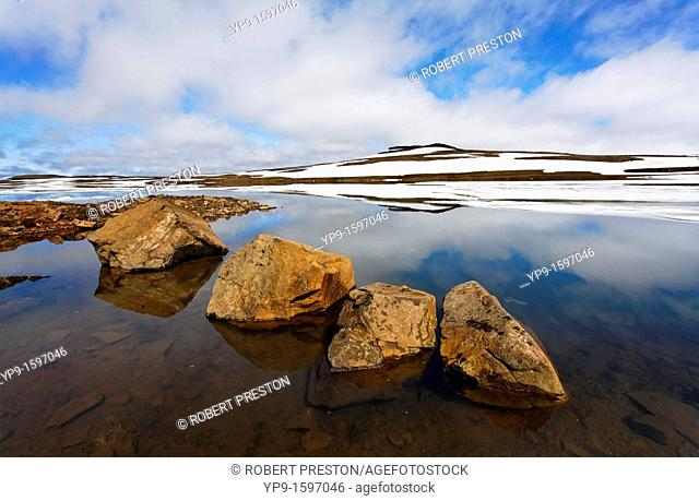 Ice and reflections in a lake, Eastern Fjords, Iceland