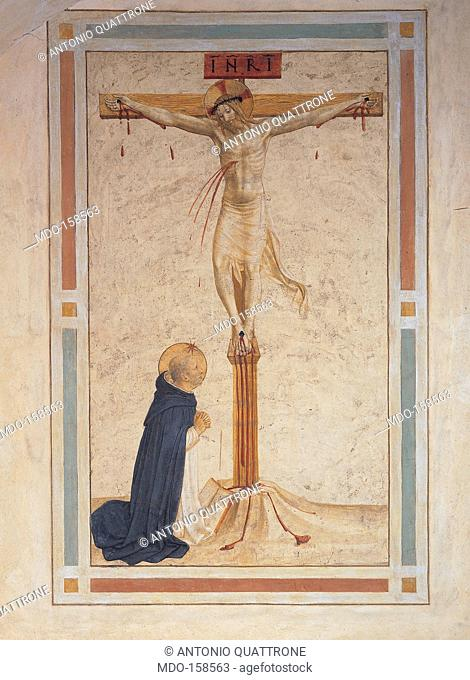Saint Dominic Praying by the Crucifixion, by Guido di Pietro (Piero) known as Beato Angelico, Benozzo di Lese di Sandro known as Benozzo Gozzoli, 1438 - 1446