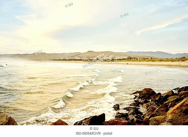 View of rocks and sea, Morro Bay, California, USA