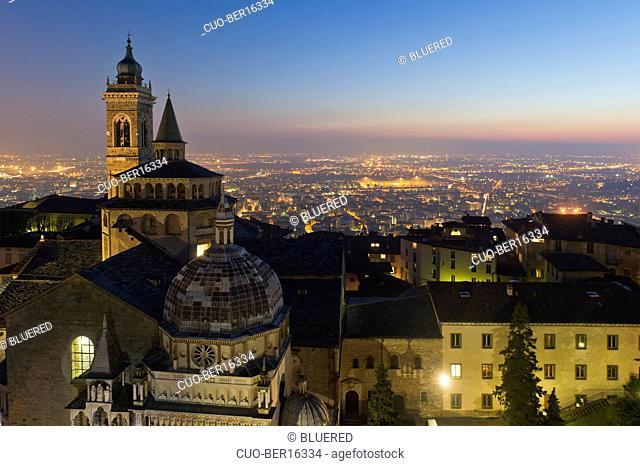 Santa Maria Maggiore church and town view from Campanone, upper town, Bergamo, Lombardy, Italy