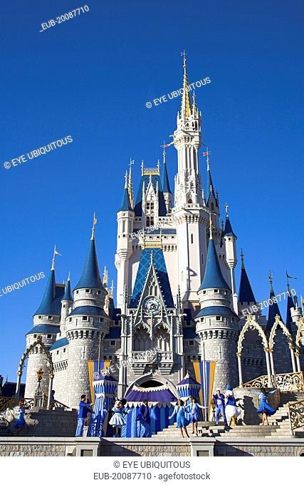 Walt Disney World Resort. Performers on stage in front of Cinderella's Castle in the Magic Kingdom