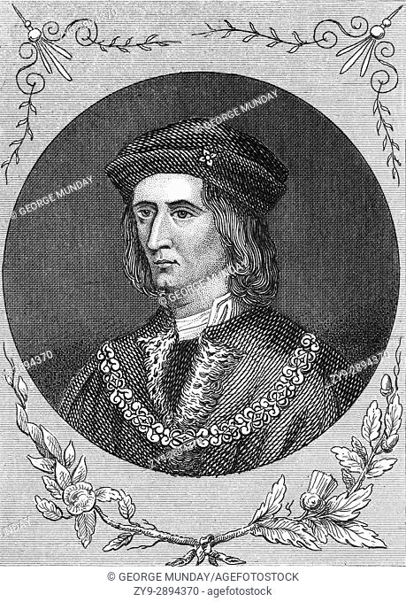 """Richard III (1452 â. """" 1485) was King of England from 1483 until his death in 1485, at the age of 32, in the Battle of Bosworth Field"""