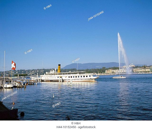 10152450, Switzerland, Europe, Geneva, Geneve, Geneva, jet d'Eau, fountains, jet, fountain, ship landing stage, flags, bicycle s