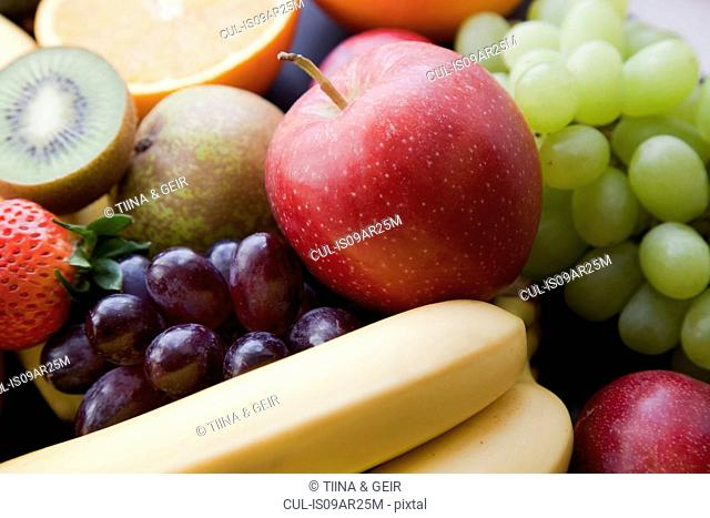 Close up still life with variety of fruit
