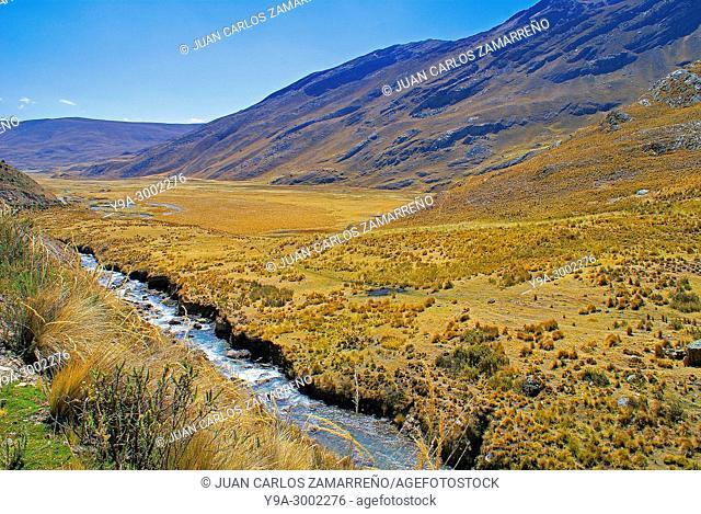 High glacier valley at Carpa, Cordillera Blanca, Callejon de Huaylas, Huascaran National Park, Boiognesi province, Antonio Raimondi district, Ancash region