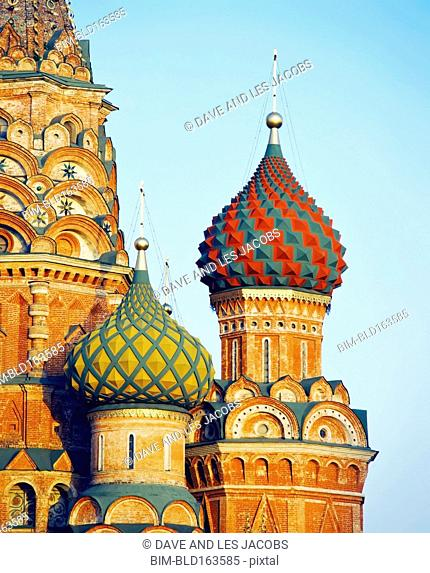 Ornate spiral domes of St Basil's Cathedral, Moscow, Central Federal District, Russia