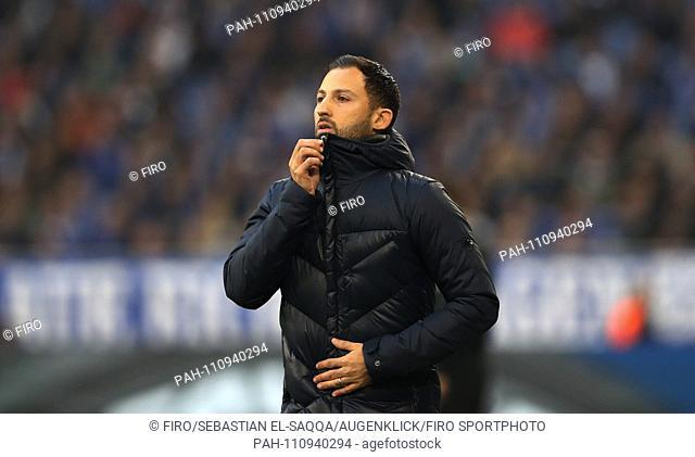 firo: 03.11.2018 Football, Football: 1. Bundesliga, Season 2018/2019 S04 FC Schalke 04 - Hanover 96 S04 coach, Domenico Tedesco, gesture, gesture