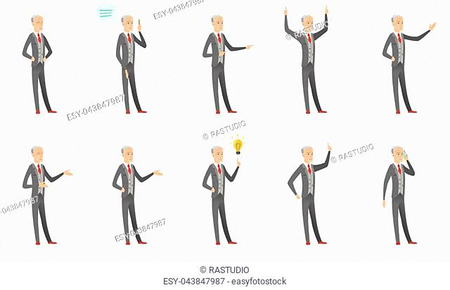 Senior caucasian businessman set. Businessman thinking, showing thumb down, giving a speech, laughing, pointing at idea lightbulb