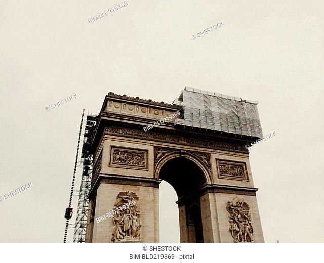 Scaffolding on Arc de Triomphe, Paris, Ile-de-France, France