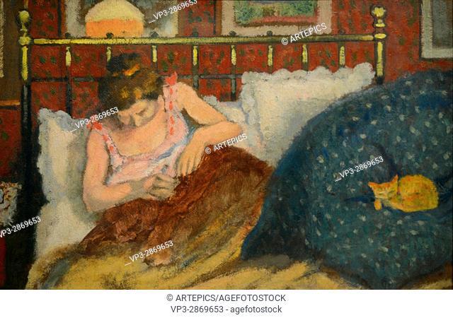 Georges Lemmen - Au lit dit aussi la Femme au Chat - 1900 - Orsay Museum - Paris