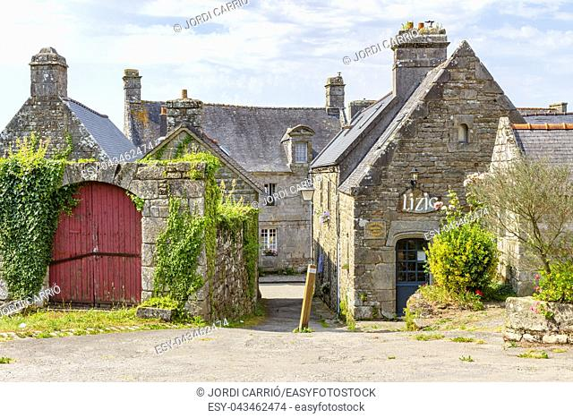 View of the big square, in Locronan one of the most beautiful villages in French Brittany