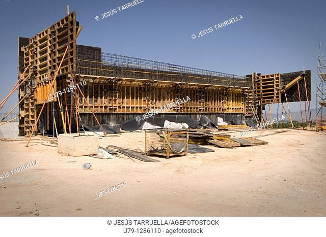 Railway work, Villena, Alicante, Valencia, Spain, AVE