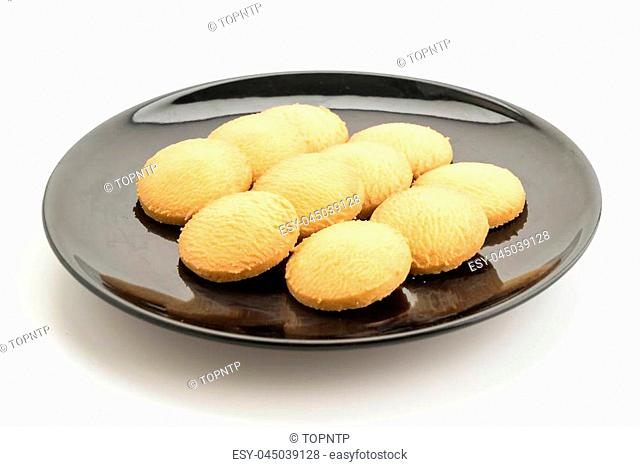 butter cookies on white background