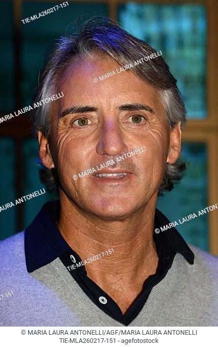 The soccer coach Roberto Mancini at tv show Ballando con le stelle, Rome, ITALY-25-02-2017