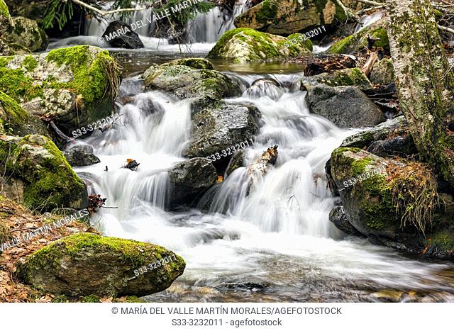 Waterfalls and moss at Sestil stream in Canencia. Madrid. Spain. Europe