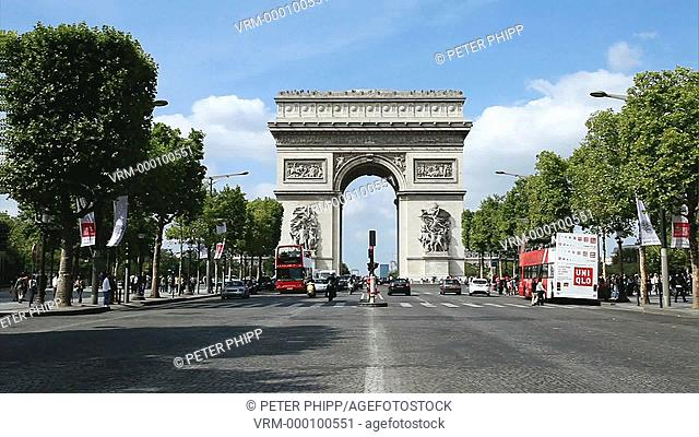 Traffic on the Champs Elysees and Arc de Triumphe in Paris