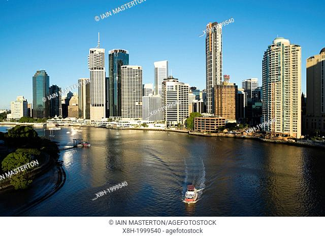 View of skyline of central business district of Brisbane in Queensland Australia