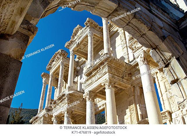 The facade of the Celsus Library building in Ephesus, Turkey