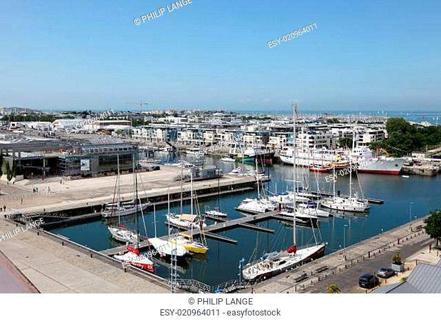 Aerial view over the port of La Rochelle, Charente Maritime, France