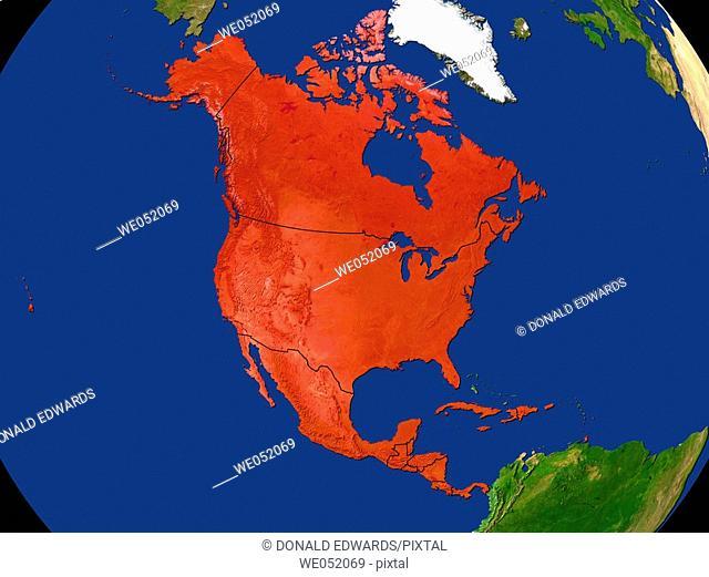 Highlighted Satellite Image Of America