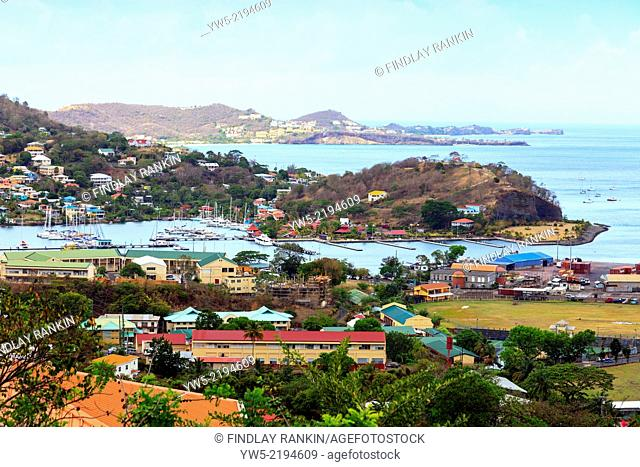 View south of St George, Grenada, West Indies over Port Louis marina, Quarantine Point and Pink Gin Beach