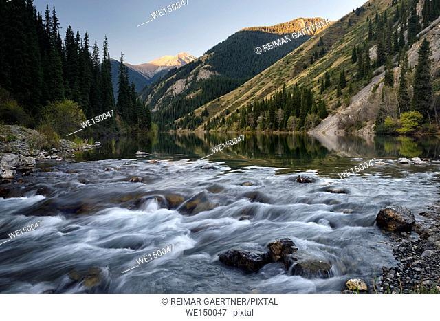 First light over rapids of Lower Kolsai Lake in Kungey Alatau mountains Kazakhstan
