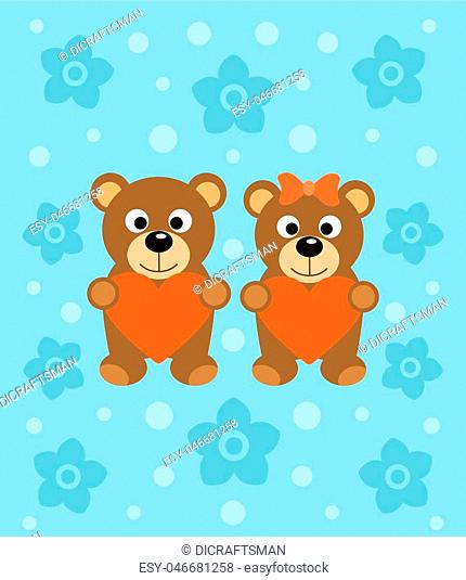 Background with funny cartoon bears