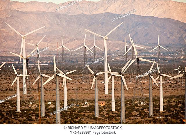 Wind turbines at the San Gorgonio Pass Wind Farm outside Palm Springs, CA