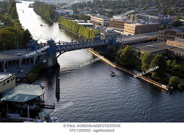 Lake Washington Ship Canal, Seattle, Washington  The canal connects Lake Washington to the Puget Sound