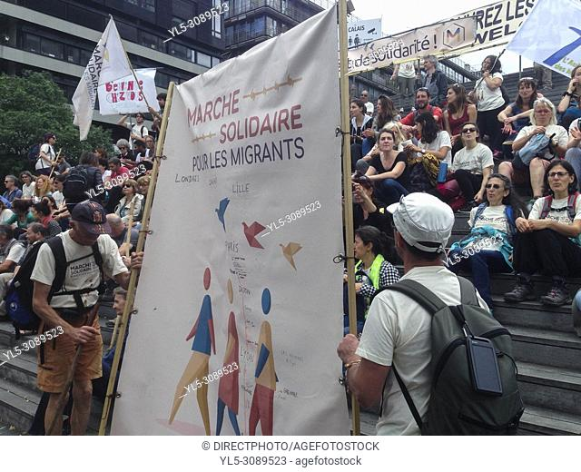 Paris, France, Solidarity March for Migrants, Against Anti-Immigration Laws, 17 June 2018