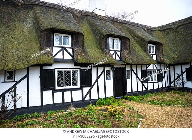Timber framed thatched cottage at Hemingford Abbots village, Cambridgeshire, England, UK
