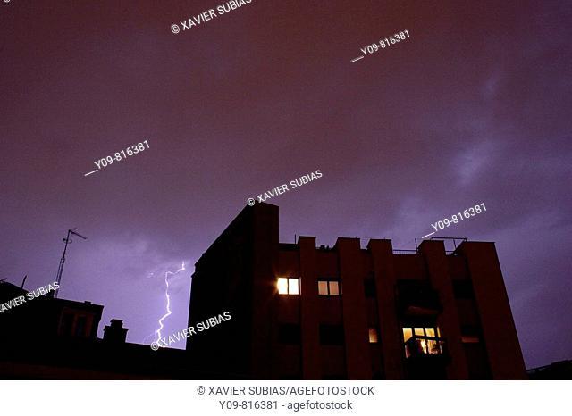 Lightning. Barcelona, Catalonia, Spain