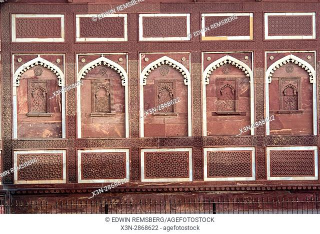 Wall detail of the Agra Fort in Agra, India