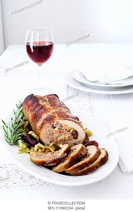Rolled pork roast with dates