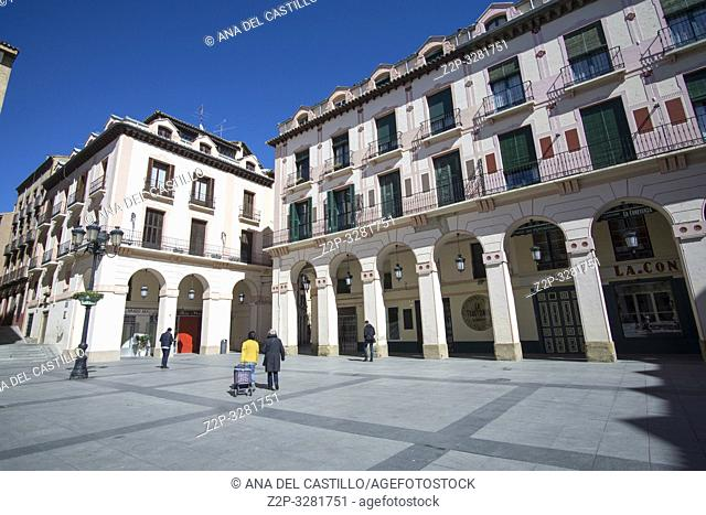 HUESCA ARAGON SPAIN ON MARCH 15, 2019: Building in Luis Lopez Allue Square - Huesca - Spain