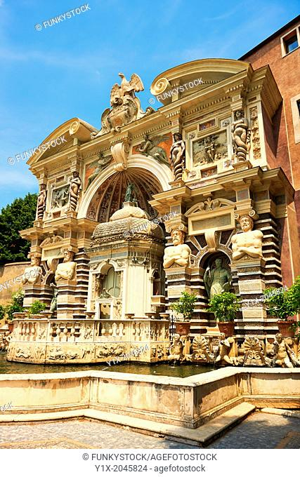 The Organ fountain, 1566, housing organ pipies driven by air from the fountains. Villa d'Este, Tivoli, Italy - Unesco World Heritage Site