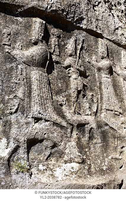 Picture of Yazilikaya [ i.e written riock ], Hattusa The largest known Hittite sanctuary. 13th century BC made in the reign of Tudhaliya 1V . 7