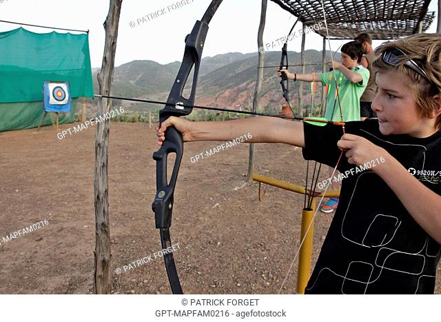 ARCHERY, ONE OF THE SPORTS ACTIVITIES AT THE DOMAINE DE TERRES D'AMANAR, TAHANAOUTE, AL HAOUZ, MOROCCO