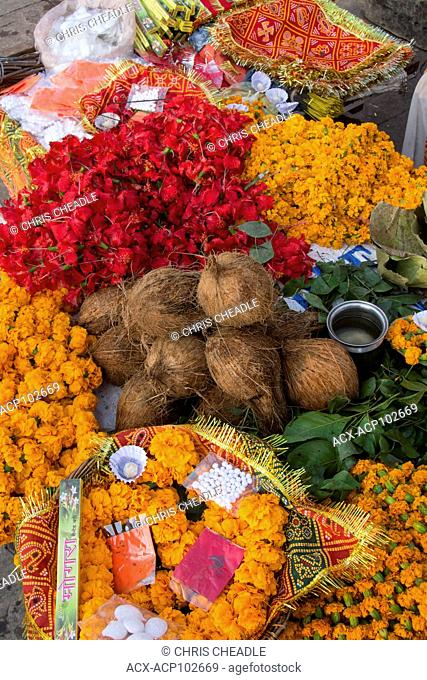 Hindu ritual offerings for sale, Varanasi, formerly Benares, Uttar Pradesh, India