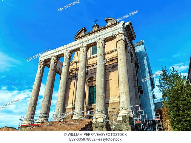 Temple Emperor Antonius and Wife Faustina Corinthian Columns Roman Forum Rome Italy. Temple created in 141 AD by Emperor, now part San Lorenzo Church