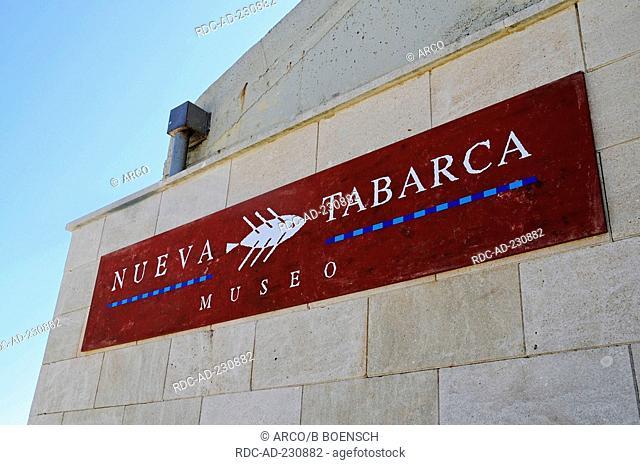 Sign of museum, Isla Tabarca, Santa Pola, Costa Blanca, Spanien