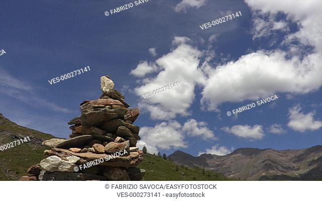 Pile of stones in the Gran Paradiso Nationa Park, Aosta Valley, Italy