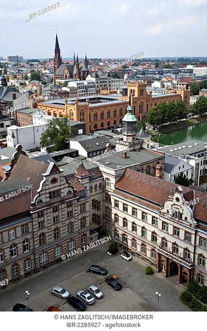 View of the Arsenal as seen from Schwerin Cathedral, Schwerin, Mecklenburg-Western Pomerania, Germany, Europe