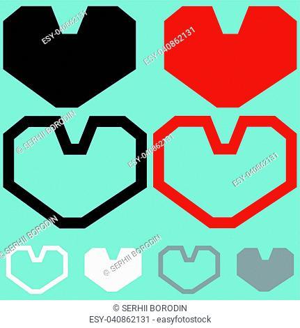 Heart red black white colour set
