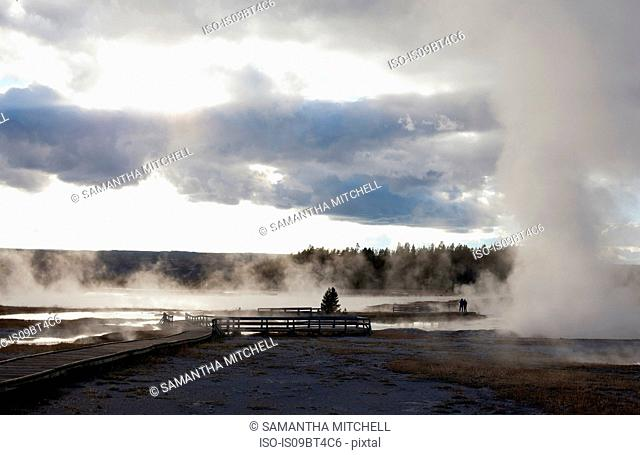 Elevated walkways at Midway Geyser Basin in Yellowstone National Park, Wyoming, USA