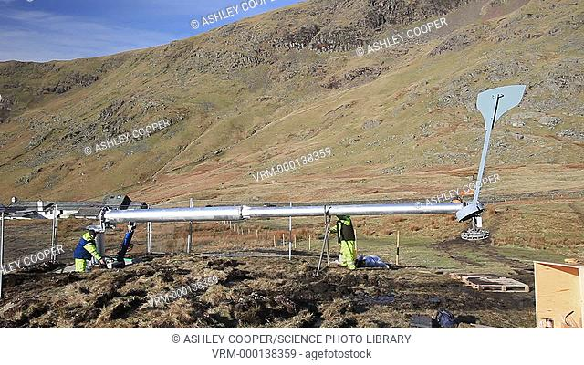 Groundwork for the installation of three wind turbines. The turbines are being constructed behind the Kirkstone Pass Inn on Kirkstone Pass in the Lake District