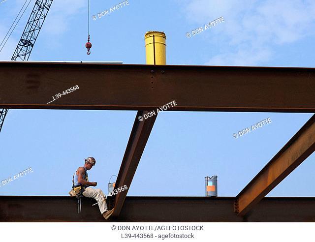 Iron worker on a hospital building in Burlington, Massachusetts, USA