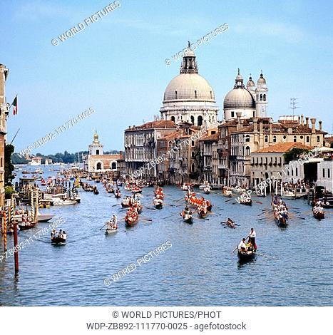 September Carnival on the Grand Canal in Venice with decorated Floats and Gondolas Date: 22 02 2008 Ref: ZB892-111770-0025 COMPULSORY CREDIT: World...