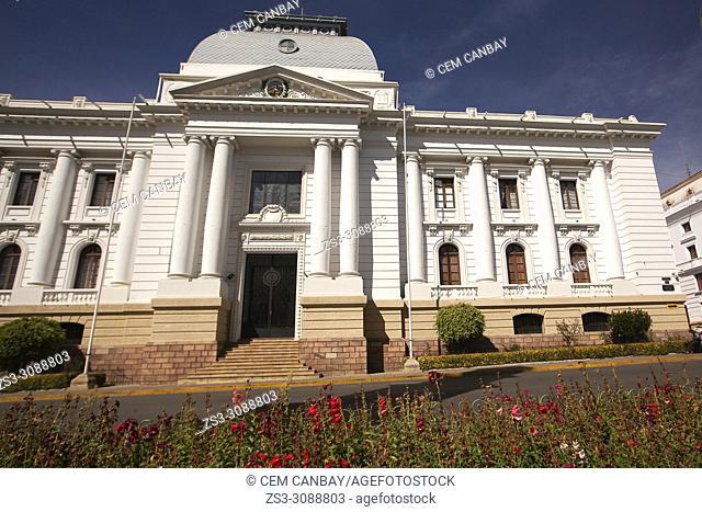 View to the Homenaje del Tribunal Supremo de Justicia at the historic center, Sucre, Chuquisaca Department, Bolivia, South America